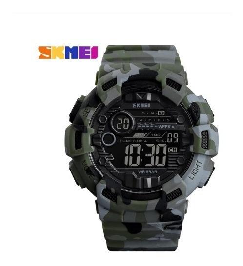 Relógio Skmei 1472 Analogico Pulseira Sport Verde / Camuflad