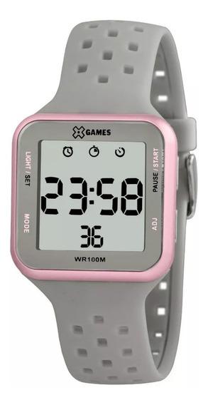 Relógio Feminino Rose E Cinza X-games Digital Quadrado +nf