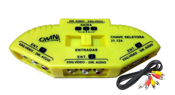 Chave Seletora 1x3 Tv/lcd/ps3/ps4 + Cabo Rca