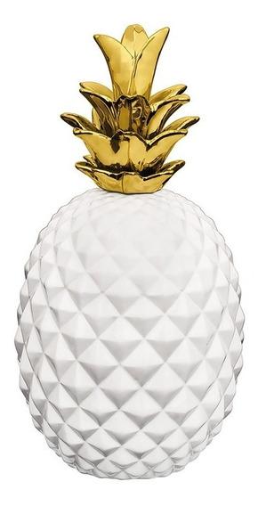 Abacaxi Em Cerâmica Mart 35x17,5cm Branco Com Dourado