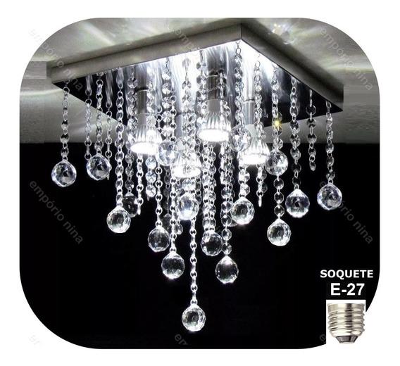Lustre De Cristal Acrílico Bright Al38 - Base Inox Espelhada