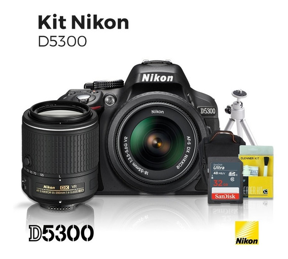 Câmera Nikon D5300 18-55mm + Lente Nikon 55-200mm Vr + Kit