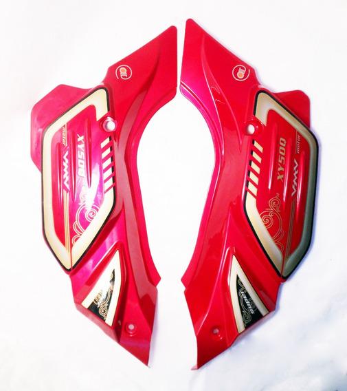 Tampas Laterais (par) Vermelhas Da Shineray 50 Q Super Smart