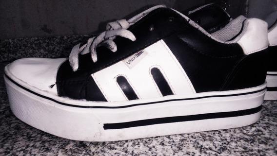 Zapatillas Con Plataforma Negro Y Blanco