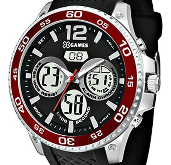 Relógio X-games Masculino Prata Com Vermelho