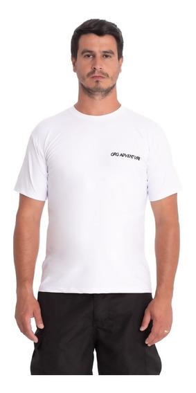 Camiseta Proteção Solar Uv50 Masculina Manga Curta Gg Branca