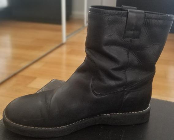 Botas Cortas De Cuero Negro, Febo, Suela Crepe