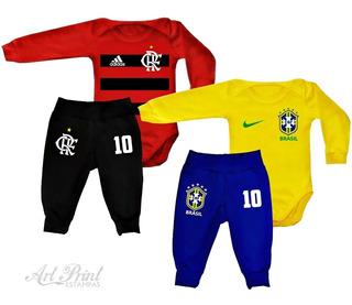 Kit 2 Conjuntos Flamengo E Brasil C/ Nome Personalizado
