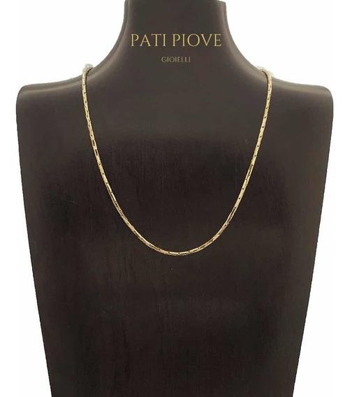 Corrente Prata 925 Cadeado Cardano 40 Cm Banho Ouro Rose 219