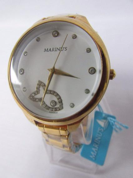 Relógio Feminino Dourado Fundo Branco Peixe Brilhante + Nf