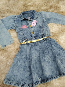 Vestido Jeans Infantil P/ Meninas - Festa