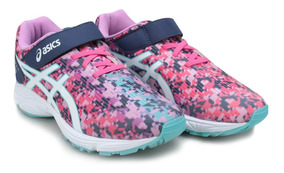 Tenis Asics Infantil Pre Bounder 2 Ps C/ Elástico Azul/pink