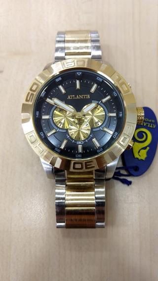 Relógio Atlantis Original Masculino Modelo Technos Bicolor.