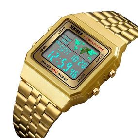 Relógio Skmei 1338 Dourado Led Digital Unissex Moda Vintage