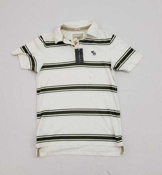 Playera Polo Abercrombie & Fitch Mediana Muscle Blanca