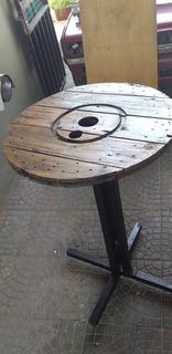 Mesa Rústica De Caño Reciclado 60 Diámetro Ideal Bar