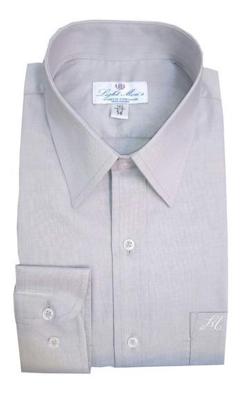 Camisa Gris Perla M/ L Caballero Planchado Fácil