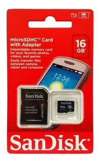 Cartao De Memória Micro Sd 16gb Sandisk Novo