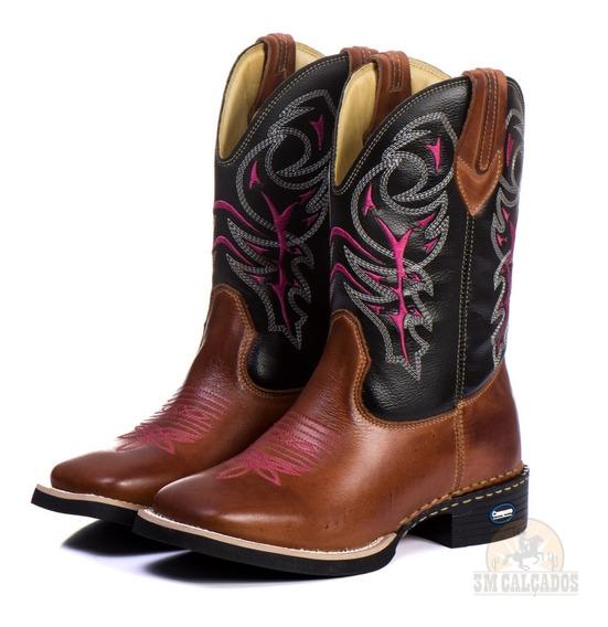 Bota Country Feminina Texana Bico Quadrado Cowgirl Cano Long