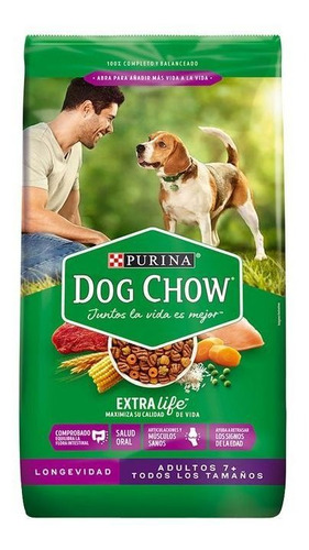 Dog Chow Longevidad Adultos +7 Todos Los Tamaños 17 Kg