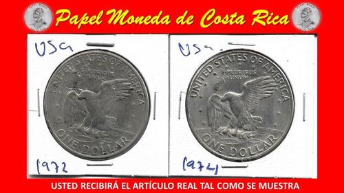 Sett Monedas Un Dolar Eisenhower 1972 Y 1974 Ceca D