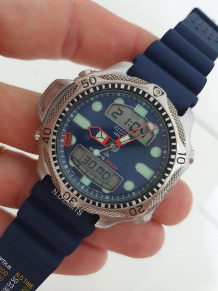 Relógio Citizen Aqualand Jp1010- C500 Fundo Azul