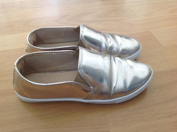 Sapato Dourado Arezzo Bem Confortavel
