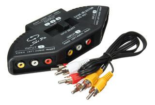 3 Vías Audio Video Av Rca Switch Multi Box Selector Splitter