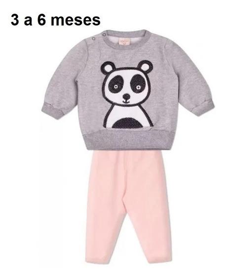 Blusa Quente Paetê + Calça Legging Panda 3-6 Meses Menina