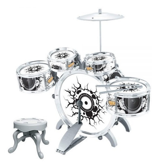 Bateria Para Criança Musical Infantil Com Pedal E Banco Rock