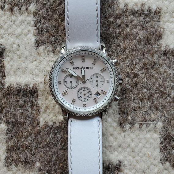 Relógio Michael Kors Mk5049 Com Pulseira De Couro Branca