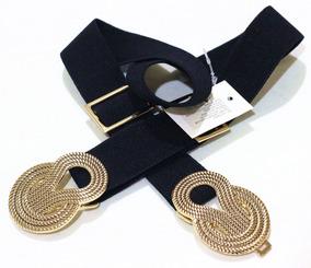 Cinto Elástico Feminino Preto Com Dourada Plus Size Plusize