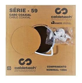Kit Com 3 Caixas De Cabo Rg59 Com 100 Metros Cada