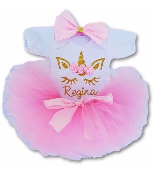 Meses Sin Interes Tutu Unicornio Personalizado Rosa Pañalero