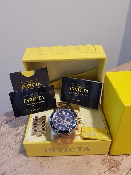 Relógio Invicta Pro Diver Men 48mm Gold Blue Dial Quartz