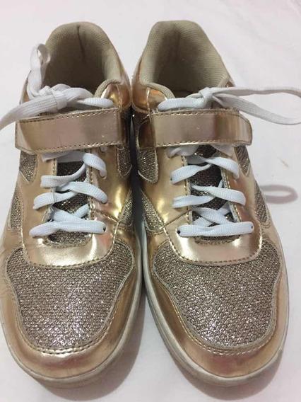 Zapatos Deportivos Para Dama Talla 38 Dorados Usados