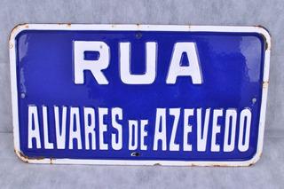 Antiga Placa Rua Em Ágata Rua Alvares De Azevedo