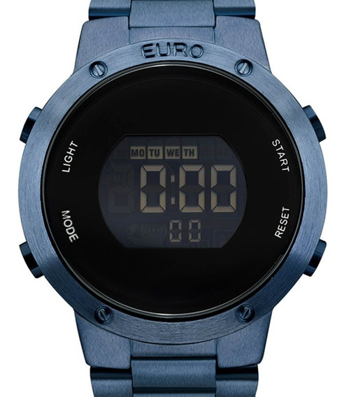 Relógio Euro Digital Azul Feminino Eubj3279ac/4a C/ Nf-e