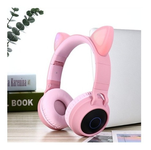 Audífonos Diadema Bluetooth Fm Micro Orejas De Gato Led