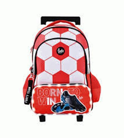 Mochila Footy 18 Futbol Born To Win Rojo Con Carro Y Luz Led