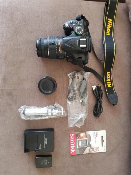 Kit Câmera Nikon D5200 Fhd+18-55+bolsa+tripé+64 Gb-novíssima
