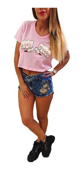 Pupera Girl Power Puños Remera Corta Jersey Verano Dama Top