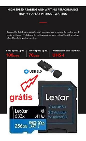 Cartão Micro Sdxc Lexar 256gb Classe 10 U3 4k A1 V30 633x