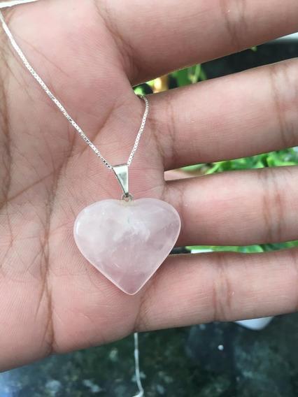 Cordão Colar Pingente Quartzo Rosa Pedra Prata 925