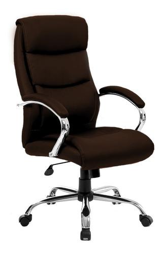 Imagen 1 de 4 de Silla de escritorio Newmo Jade  marrón con tapizado de cuero sintético