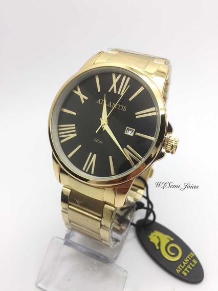 Relógio Luxo Atlantis Dourado Preto Original Elite
