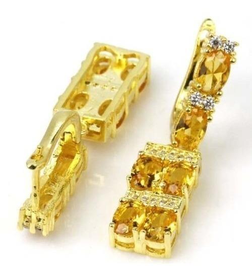 Brincos De Pedras Citrino Prata E Ouro