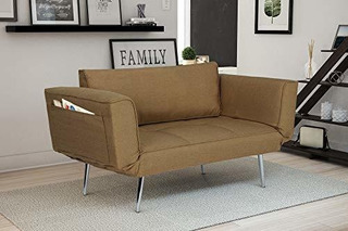 Sofa Cama De Futon Premium Con Tejido De Sarga De Lino Patas