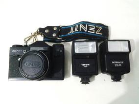 Câmera Fotográfica Zenit Sucata Anos 90 Com Flash Brinde