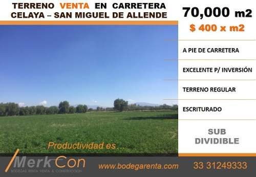 Terreno Venta 70,000 En Carretera Celaya San Miguel De Allende
